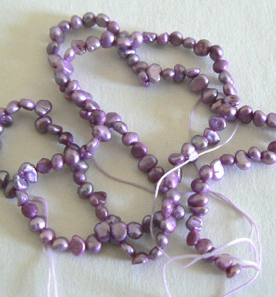 1 Strand 4-5mm Blister Natural Freshwater Pearl Beads Dyed Dark Purple b2422