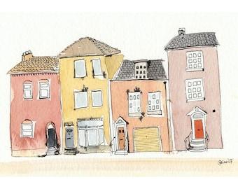 Four Little Houses - 4 x 6