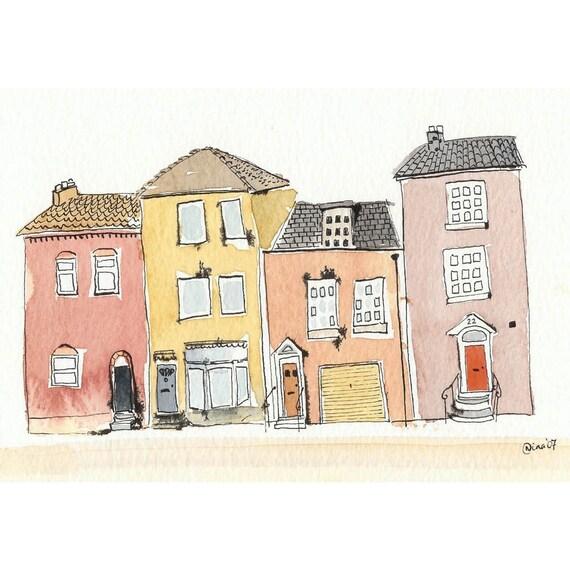 Four Little Houses - 6 x 8