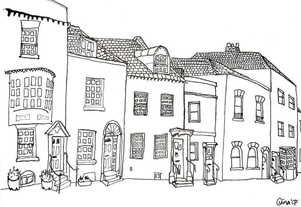 a row of odd little houses - Houses To Colour In