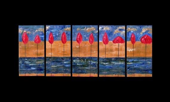 Art Sale Was 395 Now 198 Original Art for Sale 60 x 24 Abstract Landscape Copper Painting Multi Panel Modern Karina Keri-Matuszak