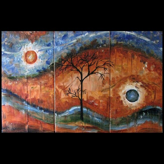 Original Fine Art For Sale: Original Art For Sale Fine Art Abstract Triptych By