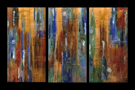 Copper Art for Sale, Abstract, Triptych, Original Art for Sale, Painting, Contemporary, Karina Keri-Matuszak