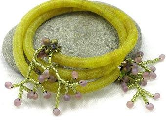 Wrap Bracelet of Vintage Sequins and Beadwork Fits Most