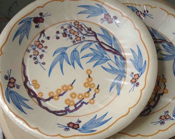 Vintage Paper Party Plates Asian Floral Motif FREE SHIPPING