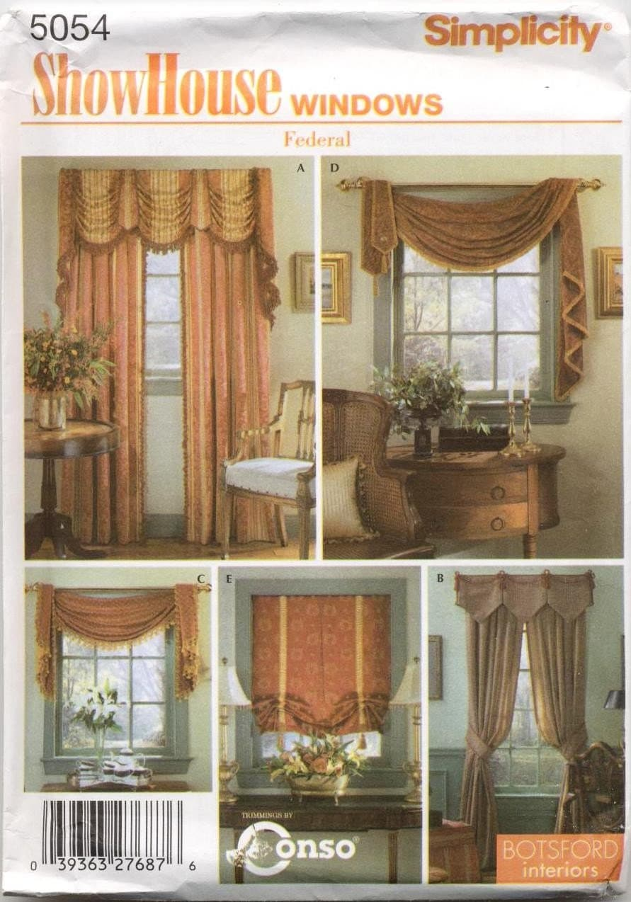 Showhouse federal style window treatments pattern five styles for Window dressing styles