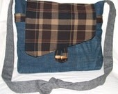 SALE - No 393 - Deconstructed Denim and Wool Messenger Bag