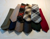 Neckties for crafting or wearing, woolens, plaids, tweeds, solids