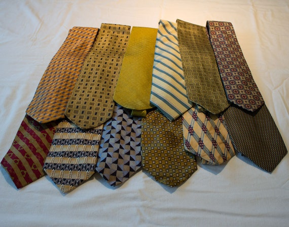 Neckties for crafting or wearing, golds, silks