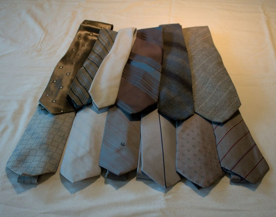 Neckties for crafting or wearing, grays, silk, poly, wool