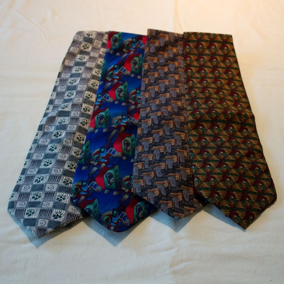 Jerry Garcia Neckties for crafting or wearing, silk, designer, multicolored