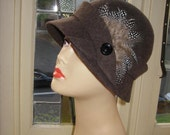 SALE Cloche Hat with Vintage Button made by Australian milliner beautiful flecked wool with feathers 22 headsize