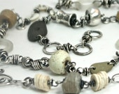 Creamy White and Neutral Toned Silver and Bead Chain Necklace