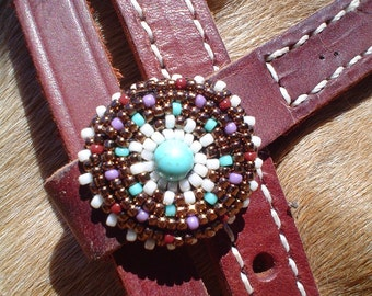 Seed Bead Turquoise Concho Horse Headstall Bridle