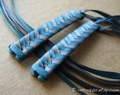 Teal and Dark Gray - braided ribbon barrettes