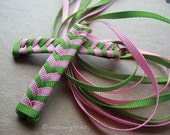 Green and Light Pink - Braided Ribbon Barrettes with Grosgrain Ribbons