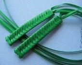 Green -  Braided Ribbon Barrettes