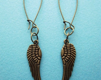 Wings (with Antique Brass Kidney Earwires) - Dangling Earrings