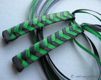Navy and Green Braided Ribbon Barrettes - 1980s Style Hair Accessories for Girls and Women