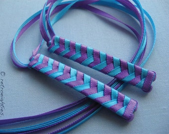 Purple and Bright Blue Braided Ribbon Barrettes - 1980s Style Hair Accessories for Girls and Women