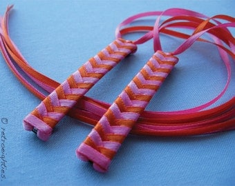 Hot Pink and Orange Braided Ribbon Barrettes - 1980s Style Hair Accessories for Girls and Women