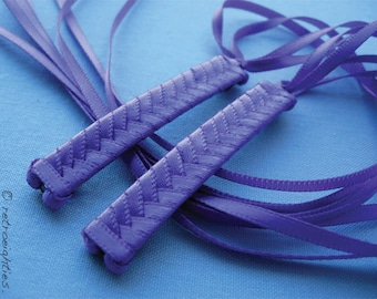 Purple Braided Ribbon Barrettes - 1980s Style Hair Accessories for Girls and Women