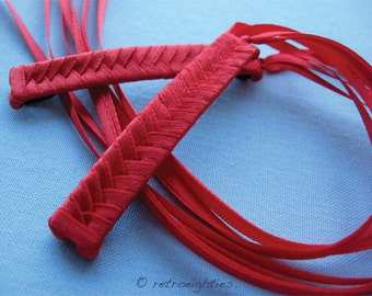 Red Braided Ribbon Barrettes - 1980s Style Hair Accessories for Girls and Women