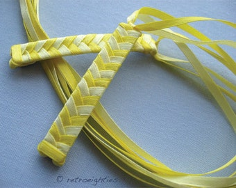 Yellow and Light Yellow Braided Ribbon Barrettes - 1980s Style Hair Accessories for Girls and Women