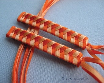 Orange and Light Orange Braided Ribbon Barrettes - 1980s Style Hair Accessories for Girls and Women