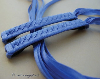 Lavender (Purplish Blue) Braided Ribbon Barrettes - 1980s Style Hair Accessories for Girls and Women
