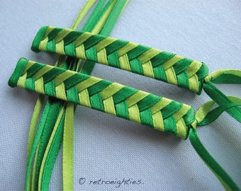 Green and Yellow Green Braided Ribbon Barrettes - 1980s Style Hair Accessories for Girls and Women