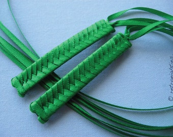 Green Braided Ribbon Barrettes - 1980s Style Hair Accessories for Girls and Women