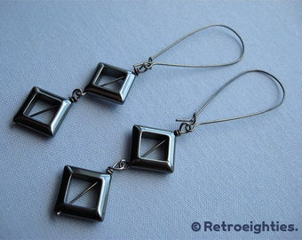 Hematite Diamonds (with Gunmetal Kidney Earwires) - Dangling Earrings