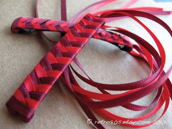 Burgundy and Red Braided Ribbon Barrettes - 1980s Style Hair Accessories for Girls and Women