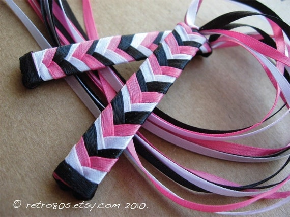 The 80s Colors - braided ribbon barrettes