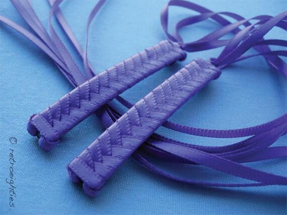 Purple - Braided Ribbon Barrettes