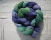 Hand Dyed Purple and Green Superwash Wool Top - 4 3/8oz.