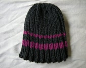 Classic Grey Hat with Pink Stripes - Ribbed and Stretchy