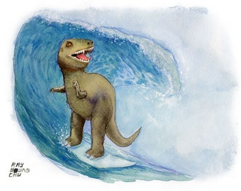 """DINO SURF 8.5 x 11"""" print by Ray Young Chu (dinosaur surfing)"""