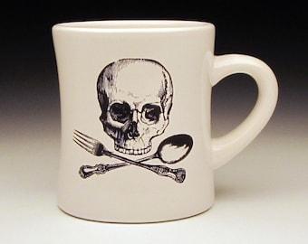 skull and cross utensils large Diner Mug