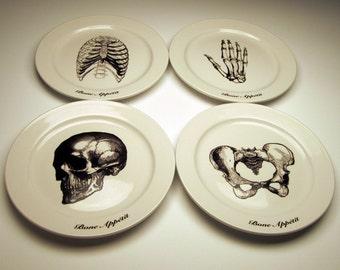 Skeletal BONE APPETIT 9 inch dinner plates Skull, Rib Cage, Pelvis, Hand