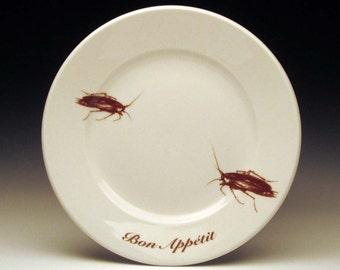 BON APPETIT cockroach dessert plate