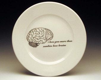 "zombies love brains dessert 7"" plate halloween dinnerware horror goth tableware"