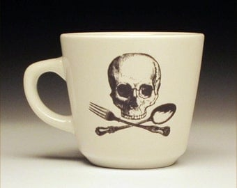 skull and cross utensils teacup