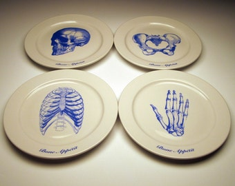BONE APPETIT 9 inch dinner plates in BLUE