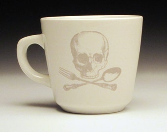 skull and cross utensils teacup in Ghostie Grey