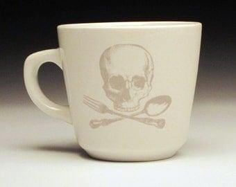 skull and cross utensils teacup in GHOSTIE GREY