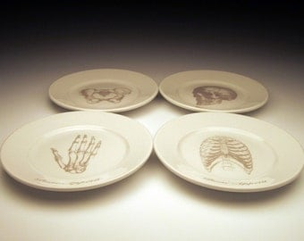 Bone Appetit dessert plate set in Ghostie Grey SALE ITEM