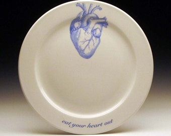eat your HEART out 9 inch dinner plate in BLUE