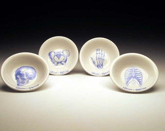 BONE APPETIT dipping bowl Set of 4 in BLUE